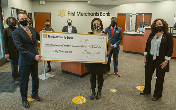 First Merchants Avondale Meadows Opening Check Donation